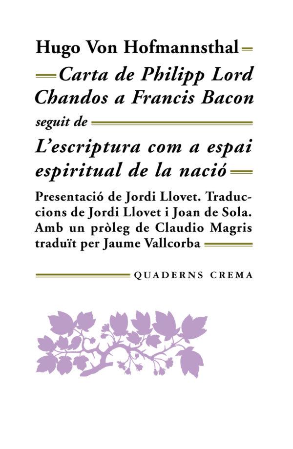 Portada Carta de Philipp Lord Chandos a Francis Bacon