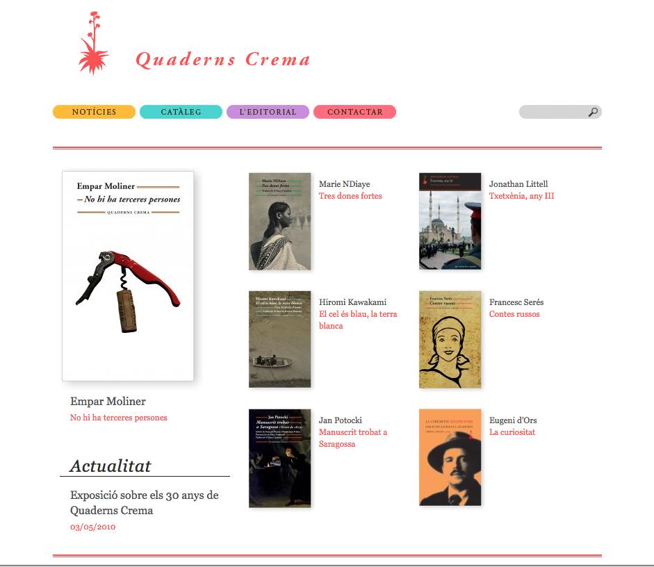 """Imatge de l'entrada """"Quaderns Crema inaugura la seva nova web"""""""