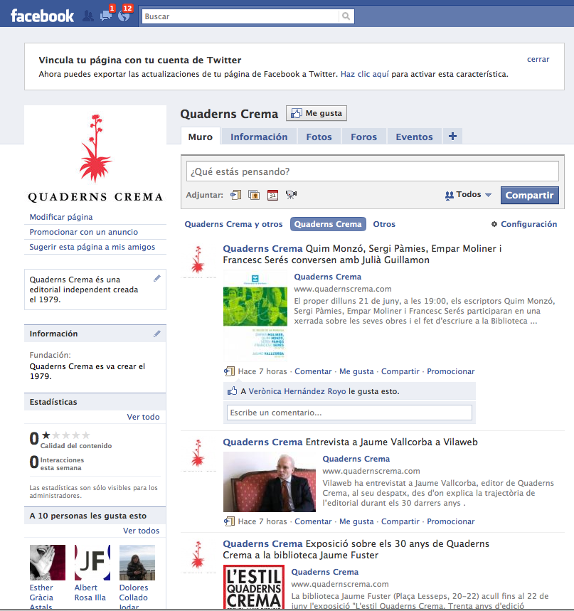 """Imatge de l'entrada """"Quaderns Crema ja és al Facebook i al Twitter"""""""